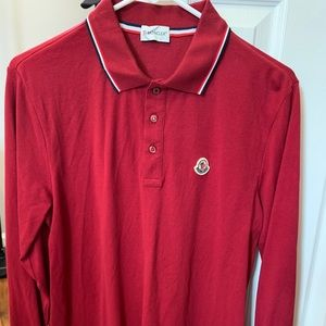 Men's moncler long sleeve polo burgundy red Large
